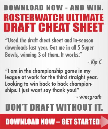 rosterwatch fantasy draft cheat sheet fantasy football cheat