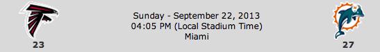 Atlanta Falcons @ Miami Dolphins