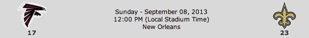 Atlanta Falcons @ New Orleans Saints