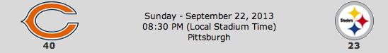 Chicago Bears @ Pittsburgh Steelers