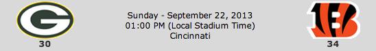 Green Bay Packers @ Cincinnati Bengals