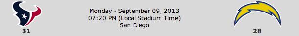 Houston Texans @ San Diego Chargers