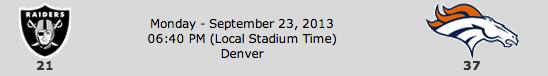 Oakland Raiders @ Denver Broncos