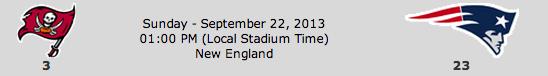 Tampa Bay Buccaneers @ New England Patriots